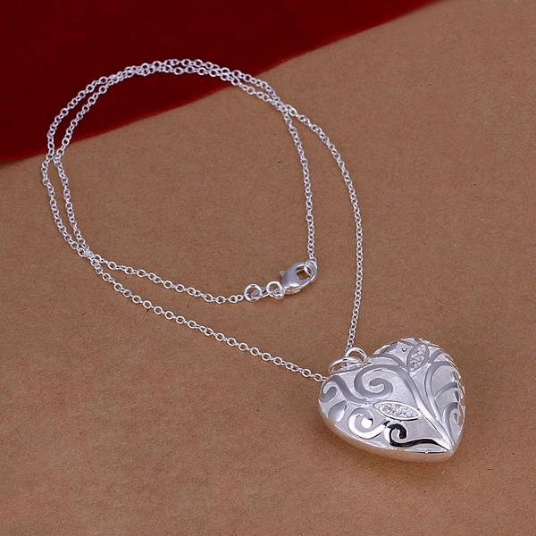 Wholesale Romantic Silver Heart Necklace TGSPN061 0