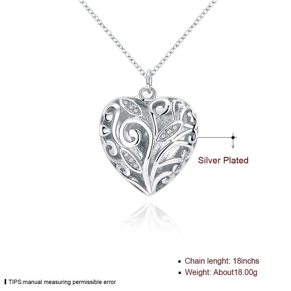 Wholesale Romantic Silver Heart Necklace TGSPN061 1