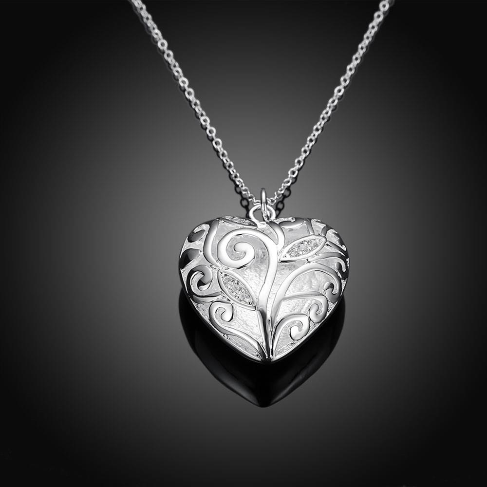 Wholesale Romantic Silver Heart Necklace TGSPN061 2
