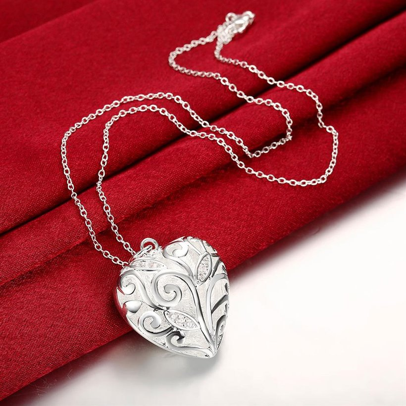 Wholesale Romantic Silver Heart Necklace TGSPN061 3