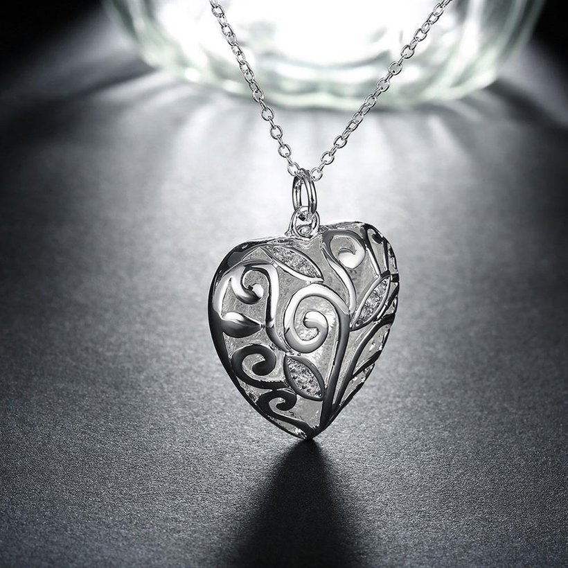 Wholesale Romantic Silver Heart Necklace TGSPN061 4