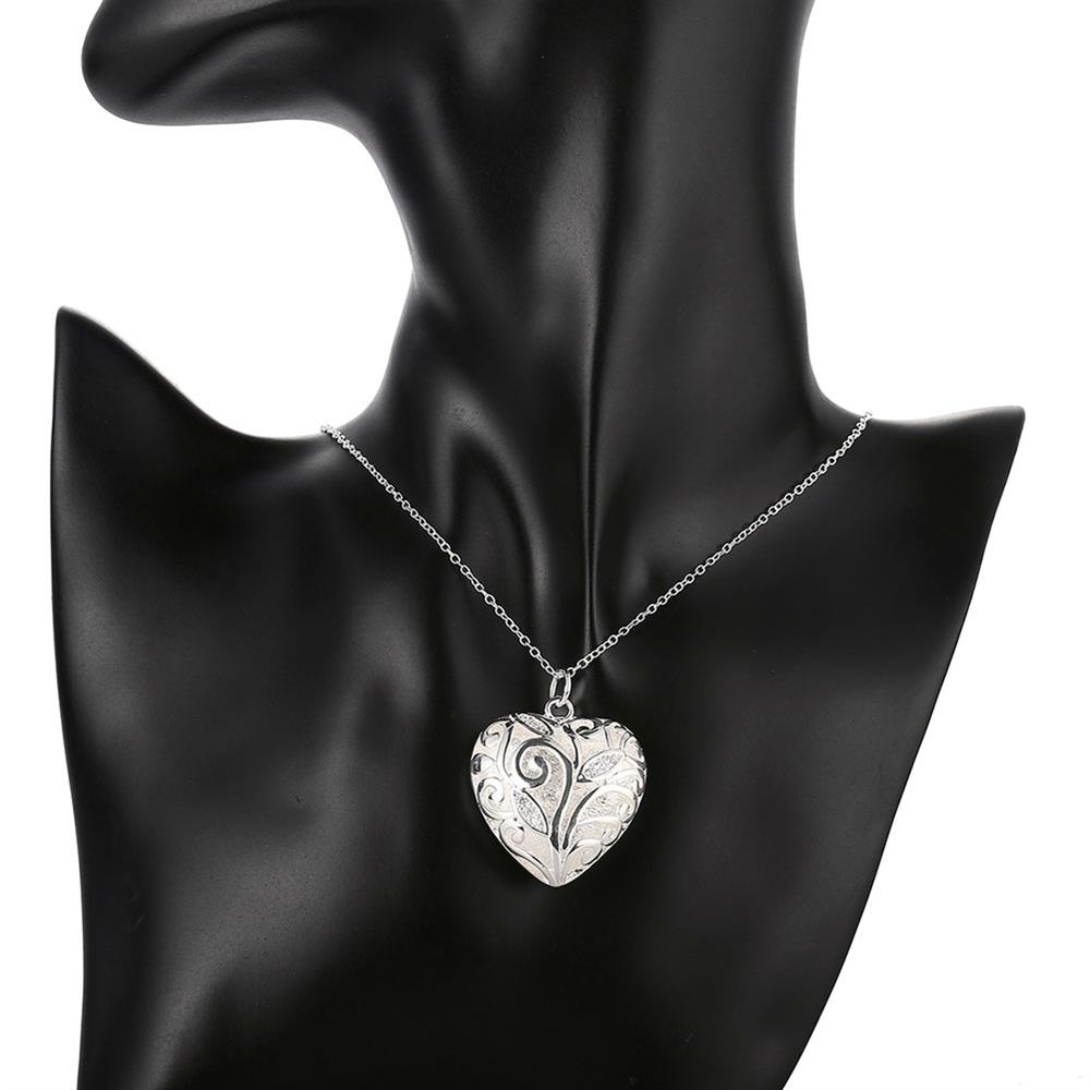 Wholesale Romantic Silver Heart Necklace TGSPN061 5