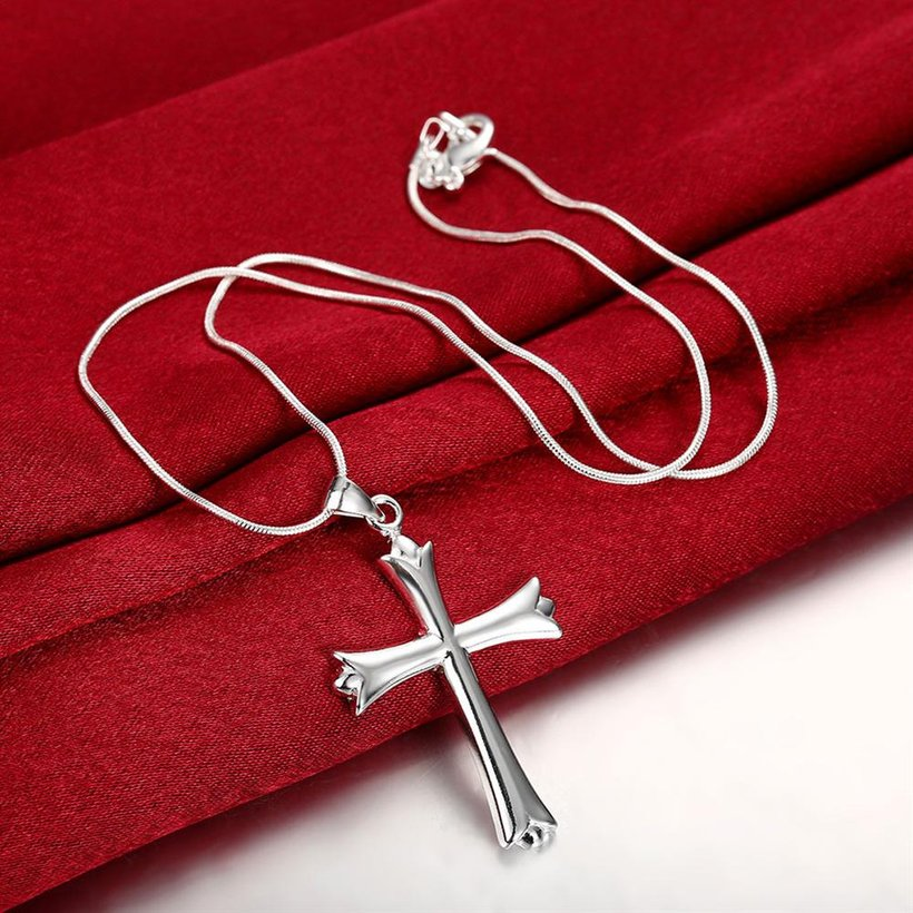Wholesale Classic Silver Cross Necklace TGSPN132 2