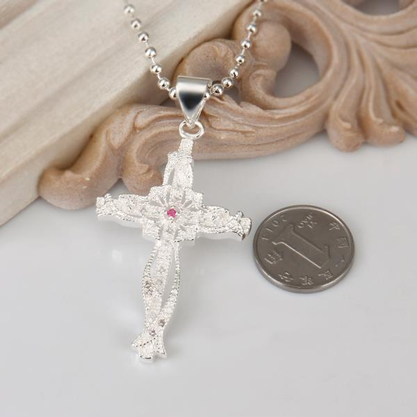 Wholesale Trendy Silver Cross CZ Necklace TGSPN320 0
