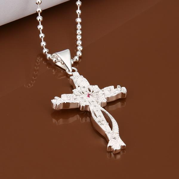 Wholesale Trendy Silver Cross CZ Necklace TGSPN320 1