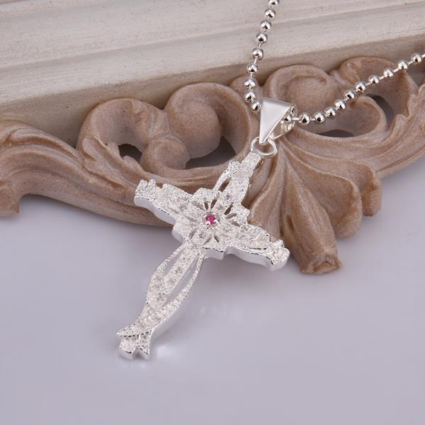 Wholesale Trendy Silver Cross CZ Necklace TGSPN320 2