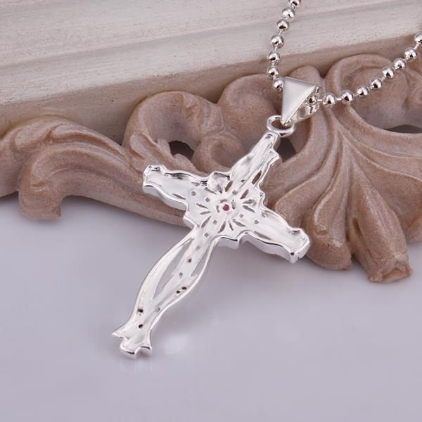 Wholesale Trendy Silver Cross CZ Necklace TGSPN320 3