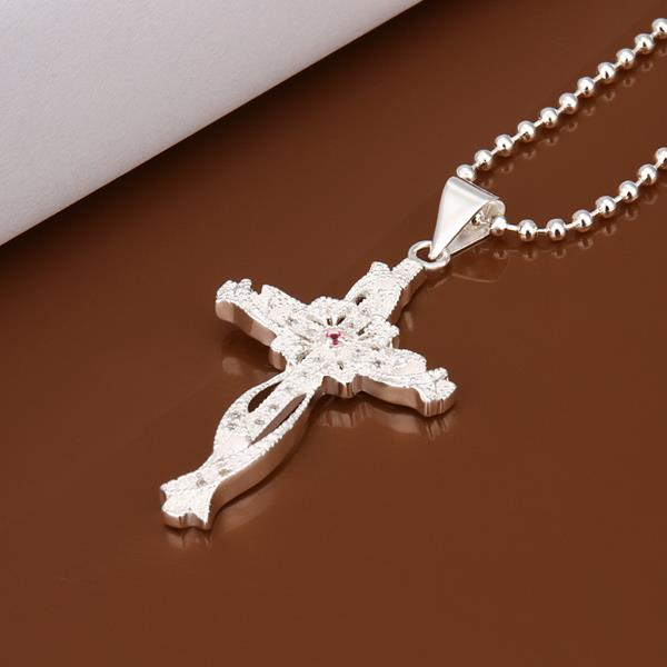 Wholesale Trendy Silver Cross CZ Necklace TGSPN320 4