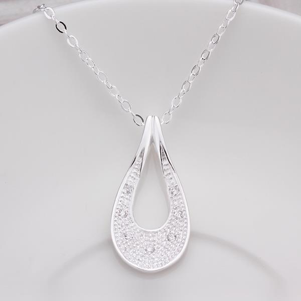 Wholesale Classic Silver Water Drop CZ Necklace TGSPN363 0