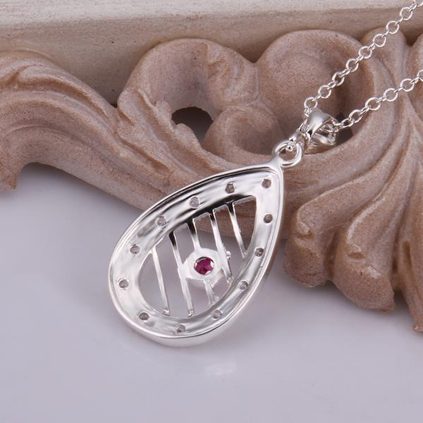 Wholesale Romantic Silver Water Drop Ceramic Necklace TGSPN396 3
