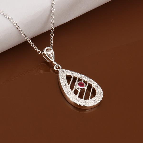 Wholesale Romantic Silver Water Drop Ceramic Necklace TGSPN396 4