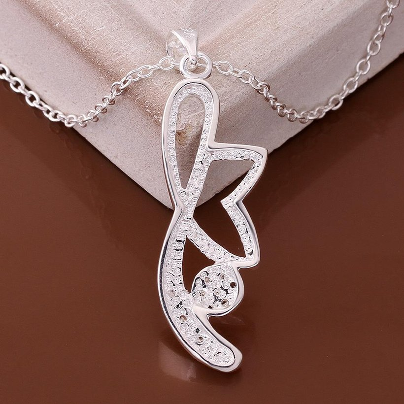 Wholesale Trendy Silver Plant CZ Necklace TGSPN466 3