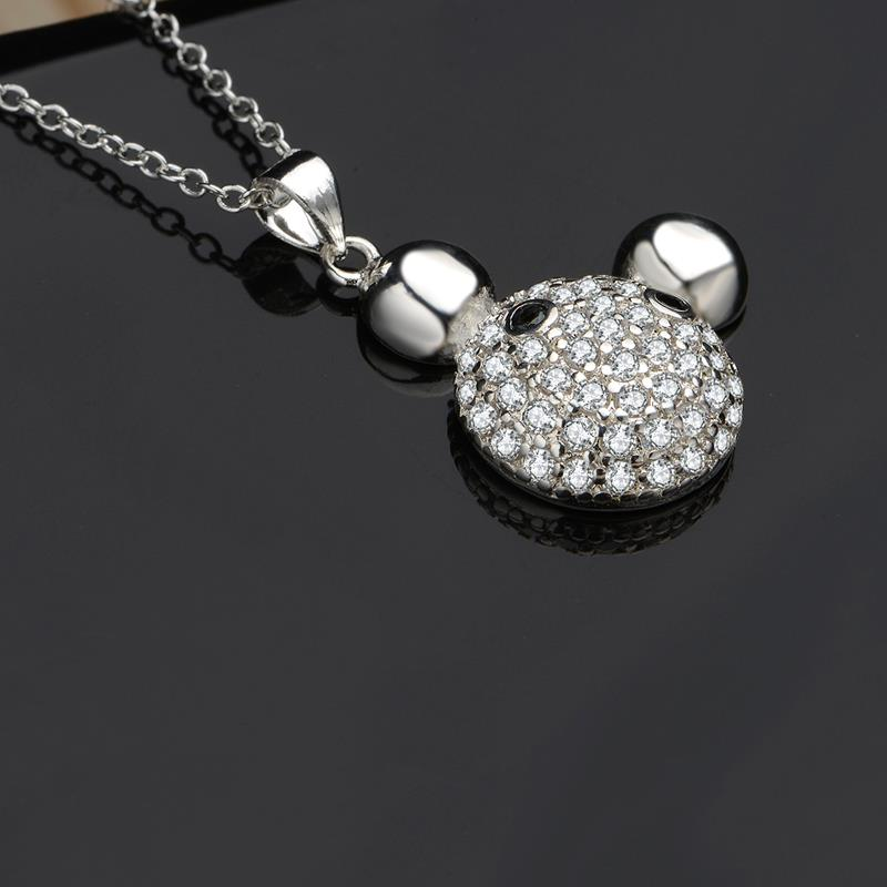 Wholesale Romantic Silver Ball CZ Necklace TGSPN574 1