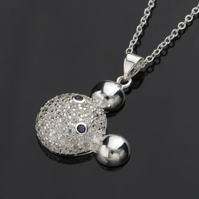 Wholesale Romantic Silver Ball CZ Necklace TGSPN574 2