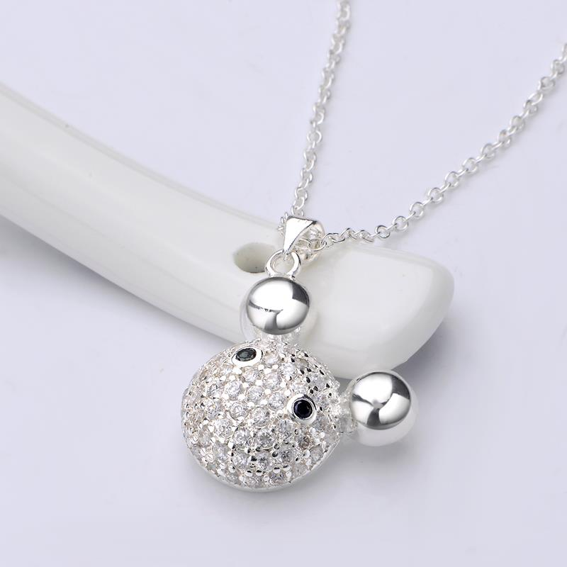 Wholesale Romantic Silver Ball CZ Necklace TGSPN574 3