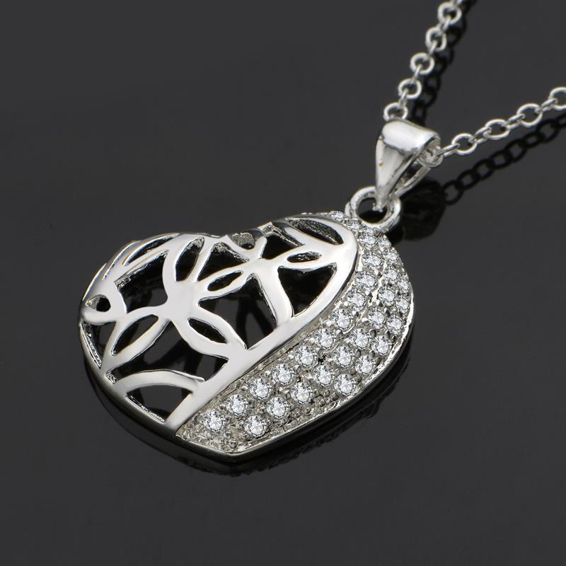 Wholesale Romantic Silver Heart CZ Necklace TGSPN588 1