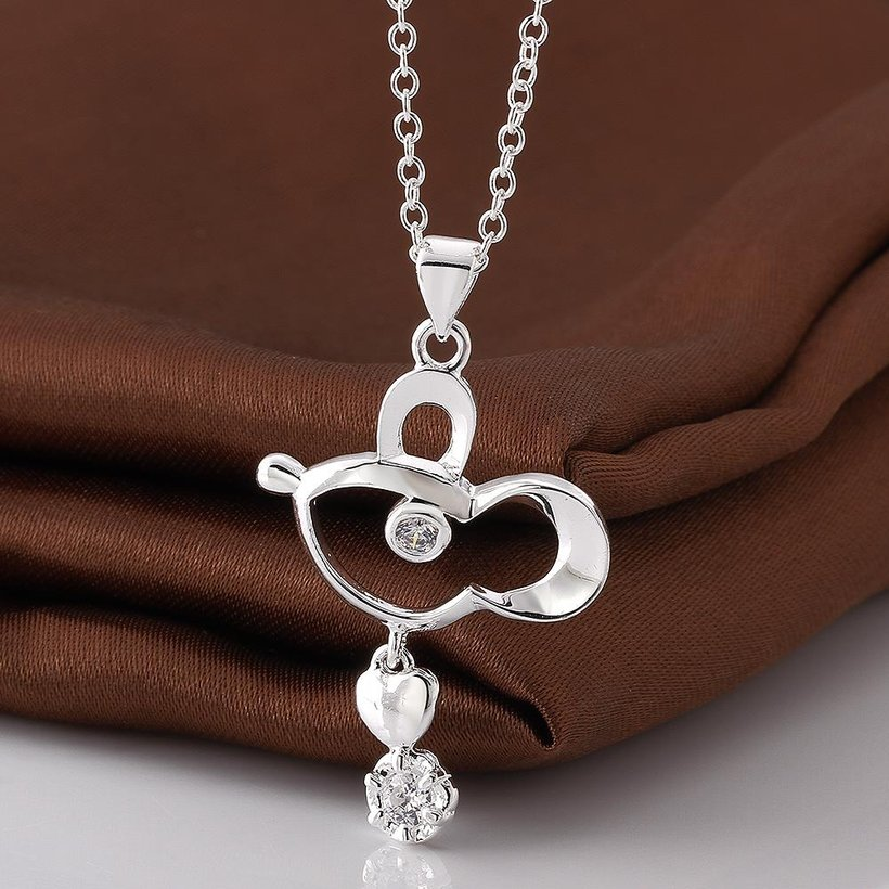 Wholesale Trendy Silver Geometric CZ Necklace TGSPN634 0