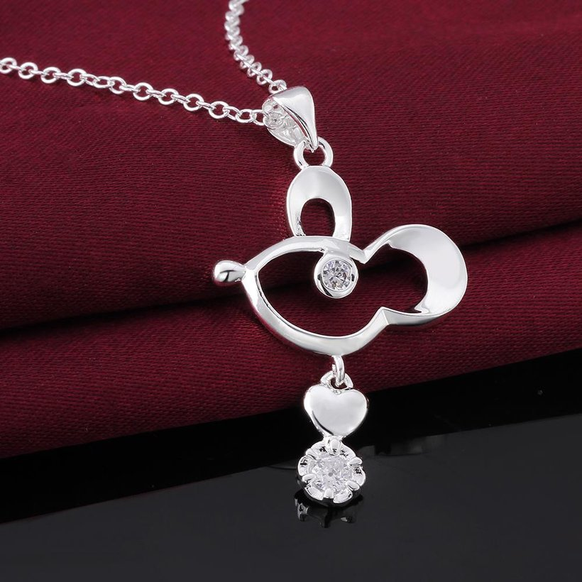 Wholesale Trendy Silver Geometric CZ Necklace TGSPN634 3