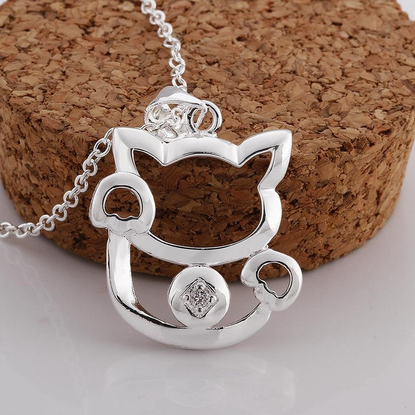Wholesale Trendy Silver Animal White CZ Necklace TGSPN681 0