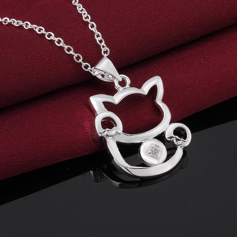 Wholesale Trendy Silver Animal White CZ Necklace TGSPN681 2