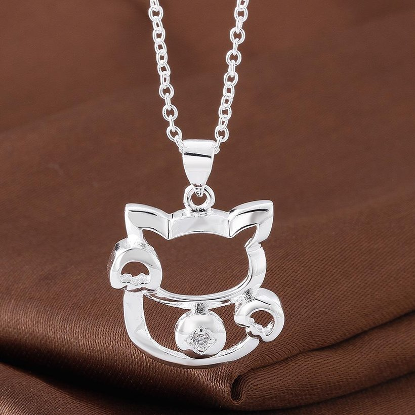 Wholesale Trendy Silver Animal White CZ Necklace TGSPN681 4