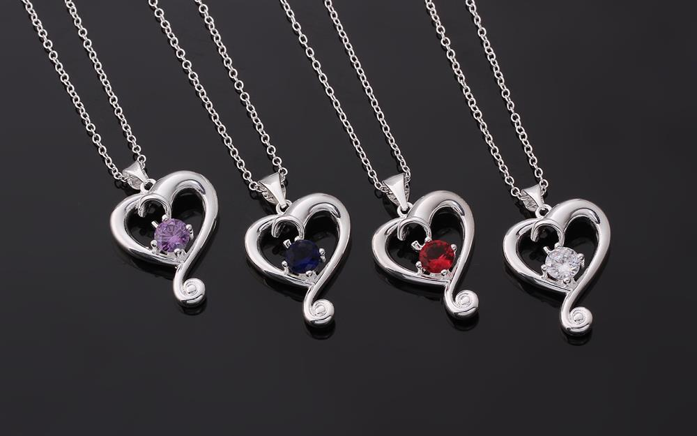Wholesale Romantic Silver Heart CZ Necklace TGSPN686 0
