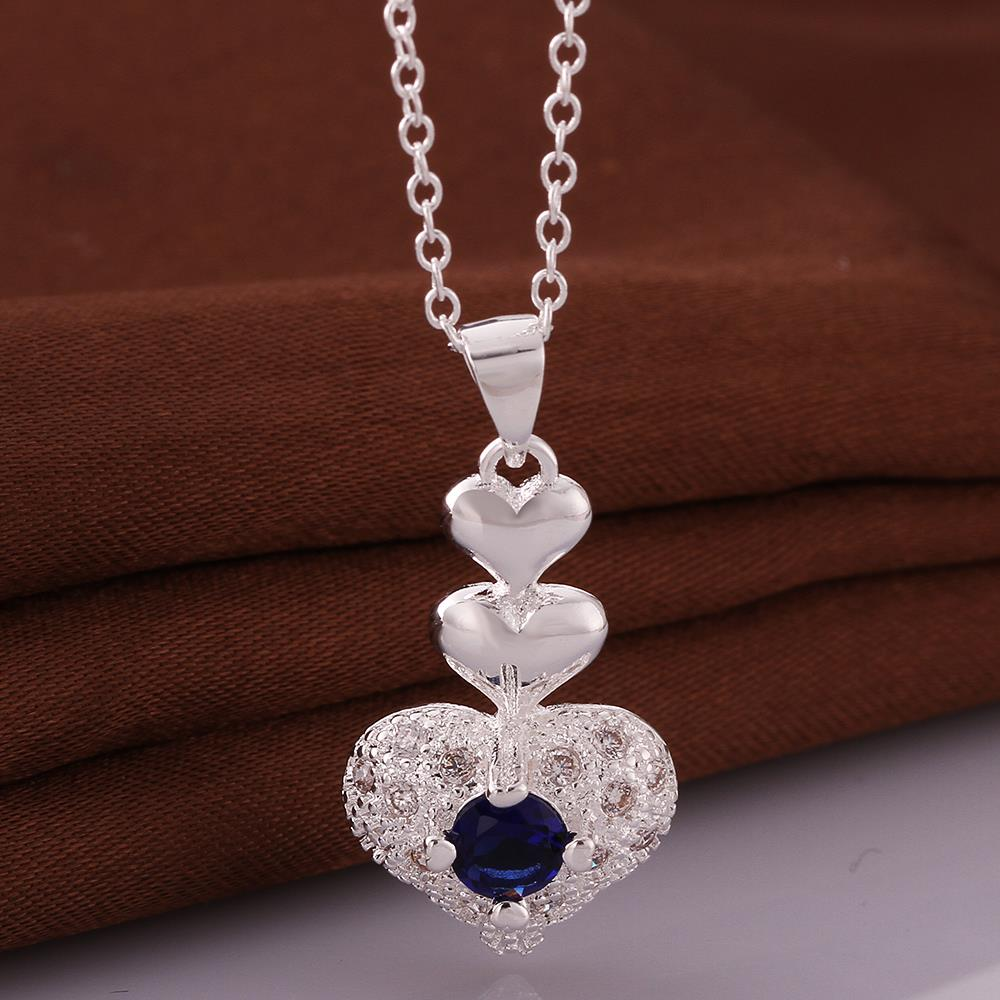 Wholesale Trendy Silver Heart CZ Necklace TGSPN764 0