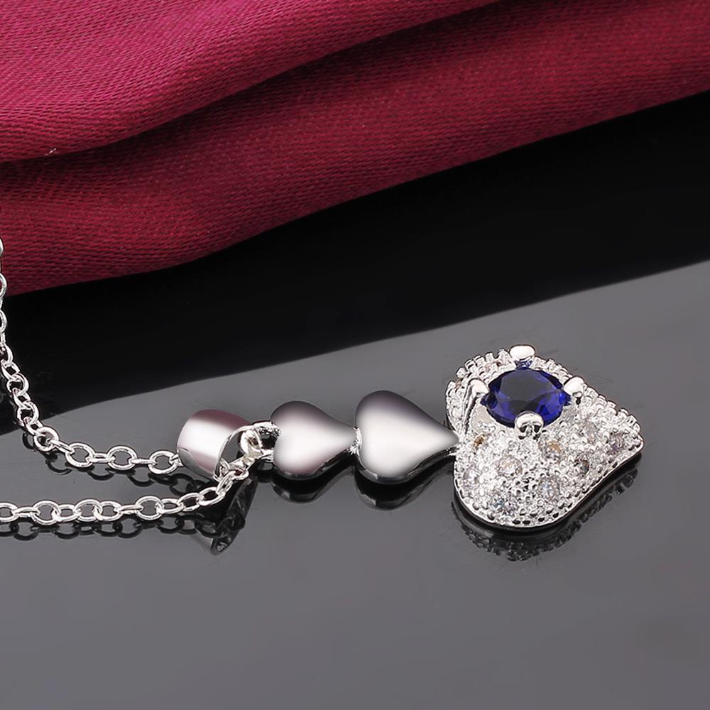 Wholesale Trendy Silver Heart CZ Necklace TGSPN764 1