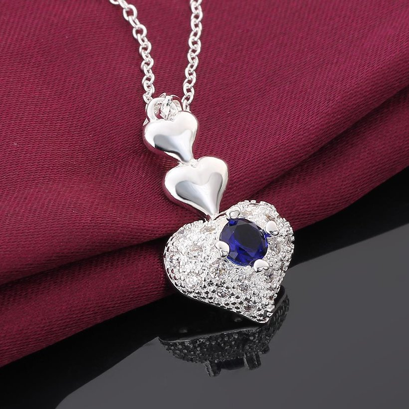 Wholesale Trendy Silver Heart CZ Necklace TGSPN764 2