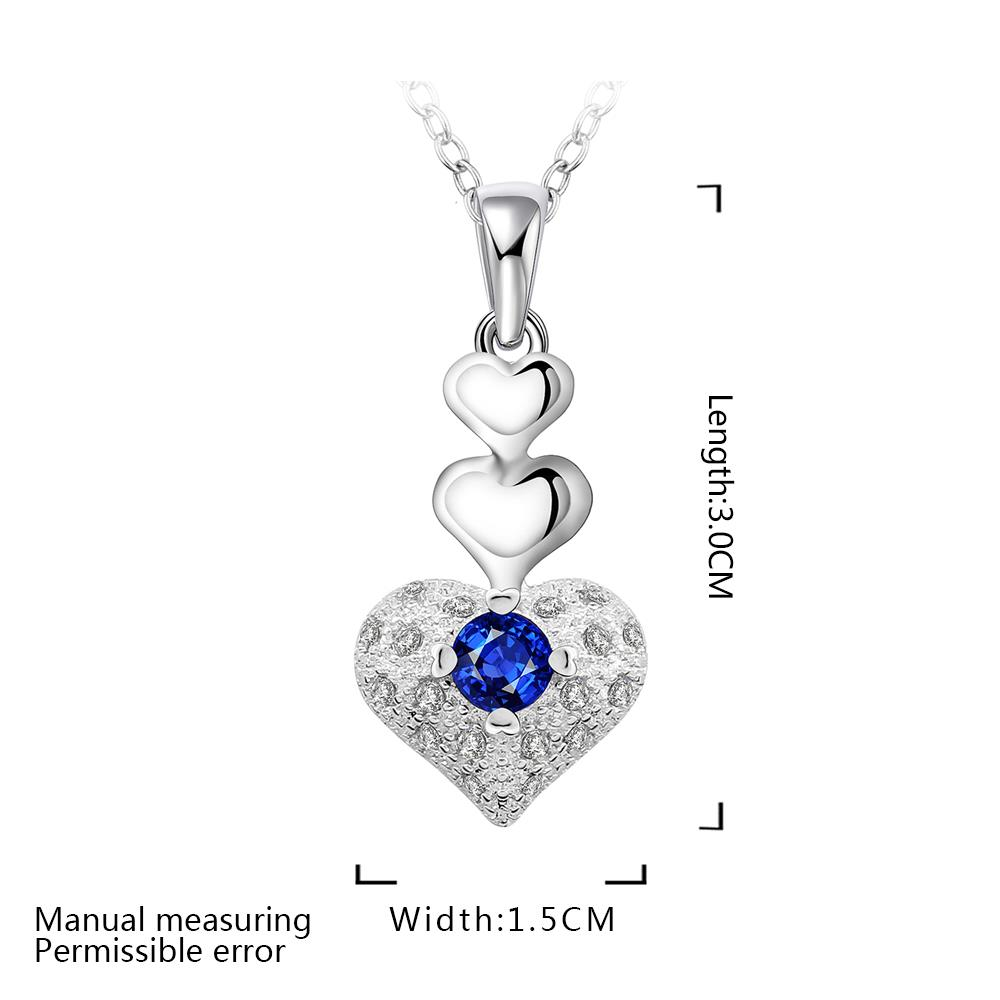 Wholesale Trendy Silver Heart CZ Necklace TGSPN764 3