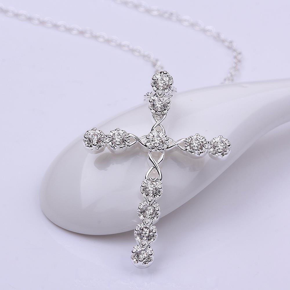 Wholesale Trendy Silver Cross CZ Necklace TGSPN085 0