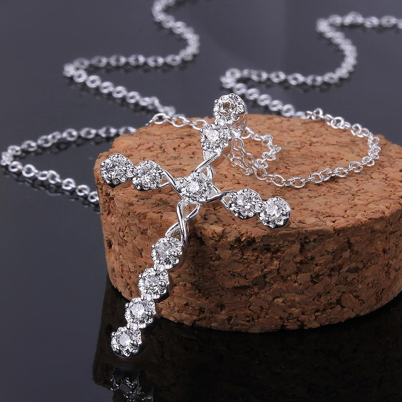 Wholesale Trendy Silver Cross CZ Necklace TGSPN085 1