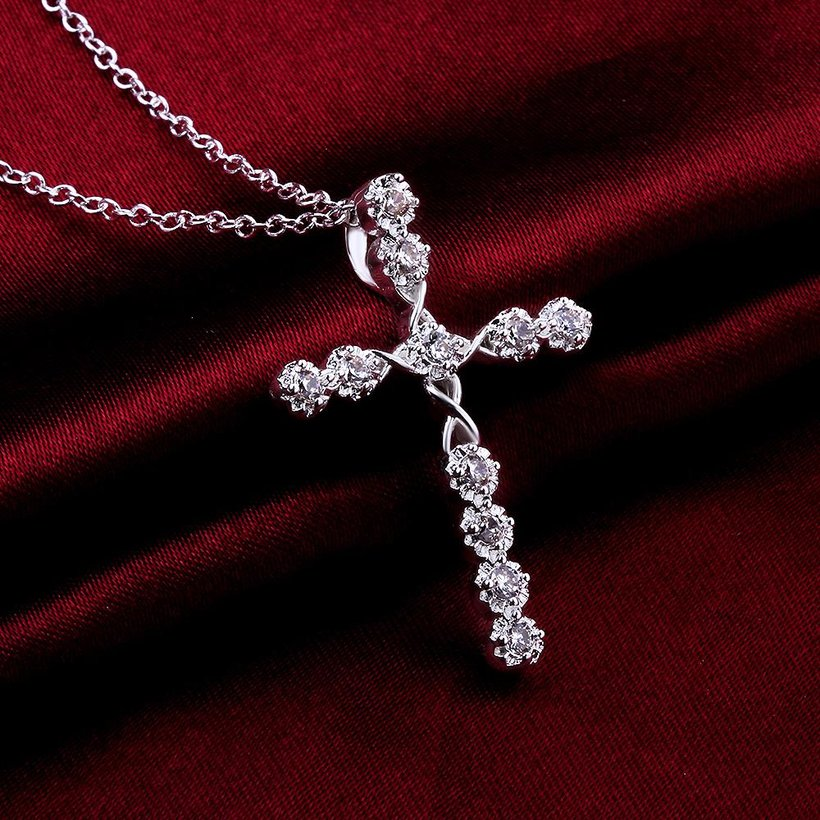 Wholesale Trendy Silver Cross CZ Necklace TGSPN085 4