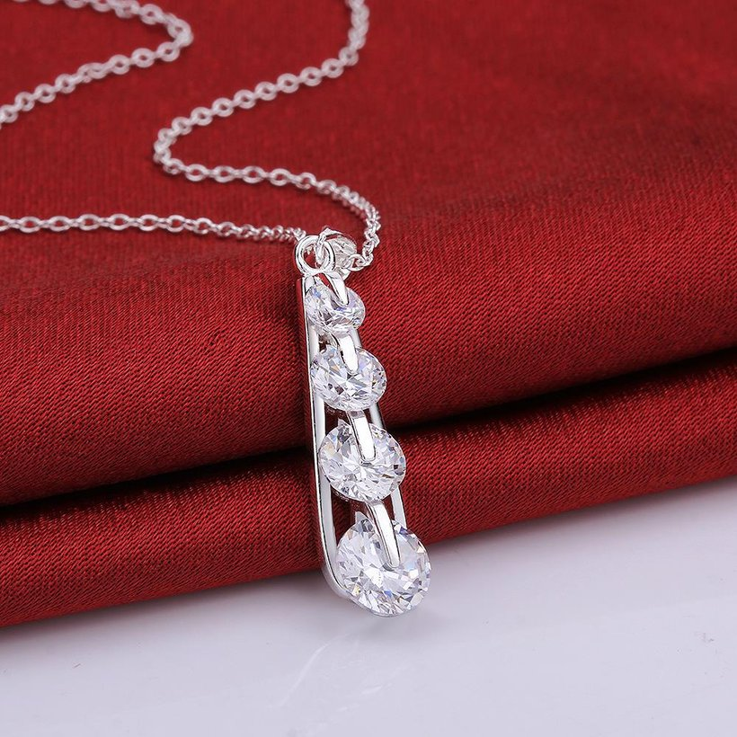 Wholesale Trendy Silver Geometric CZ Necklace TGSPN090 2