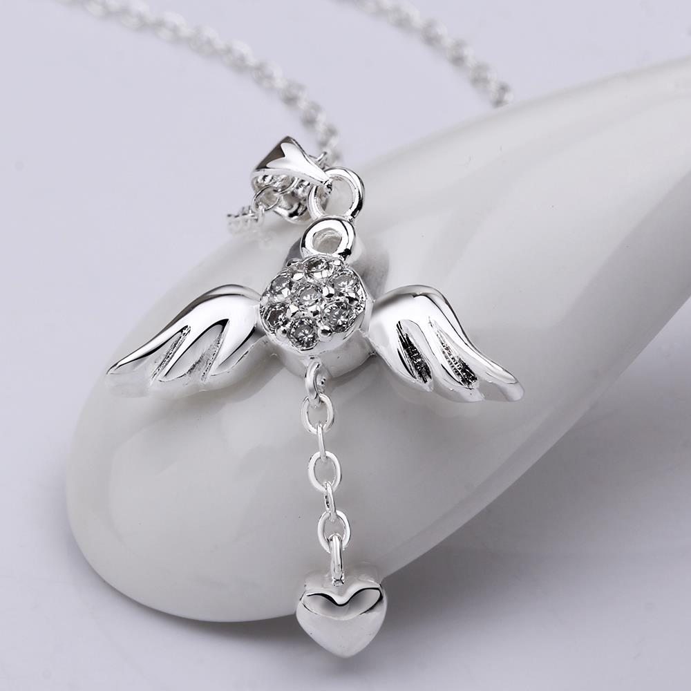 Wholesale Trendy Silver Heart CZ Necklace TGSPN105 1