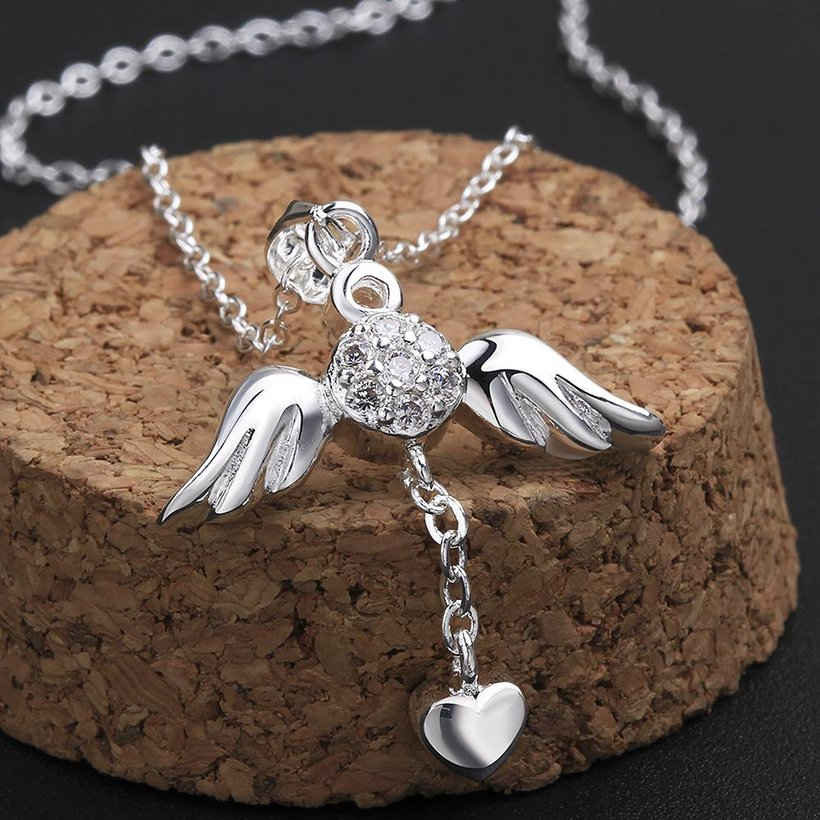 Wholesale Trendy Silver Heart CZ Necklace TGSPN105 2