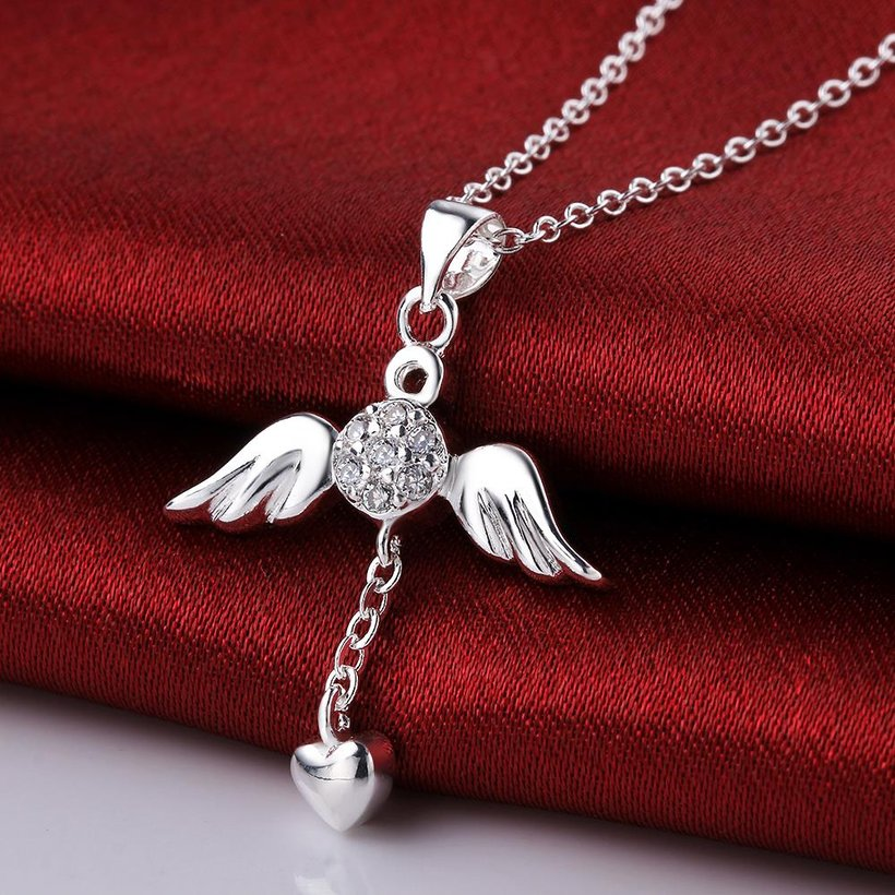 Wholesale Trendy Silver Heart CZ Necklace TGSPN105 3