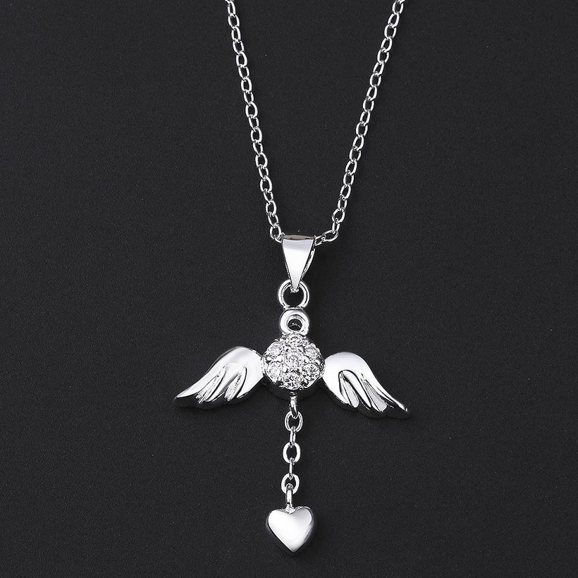 Wholesale Trendy Silver Heart CZ Necklace TGSPN105 4