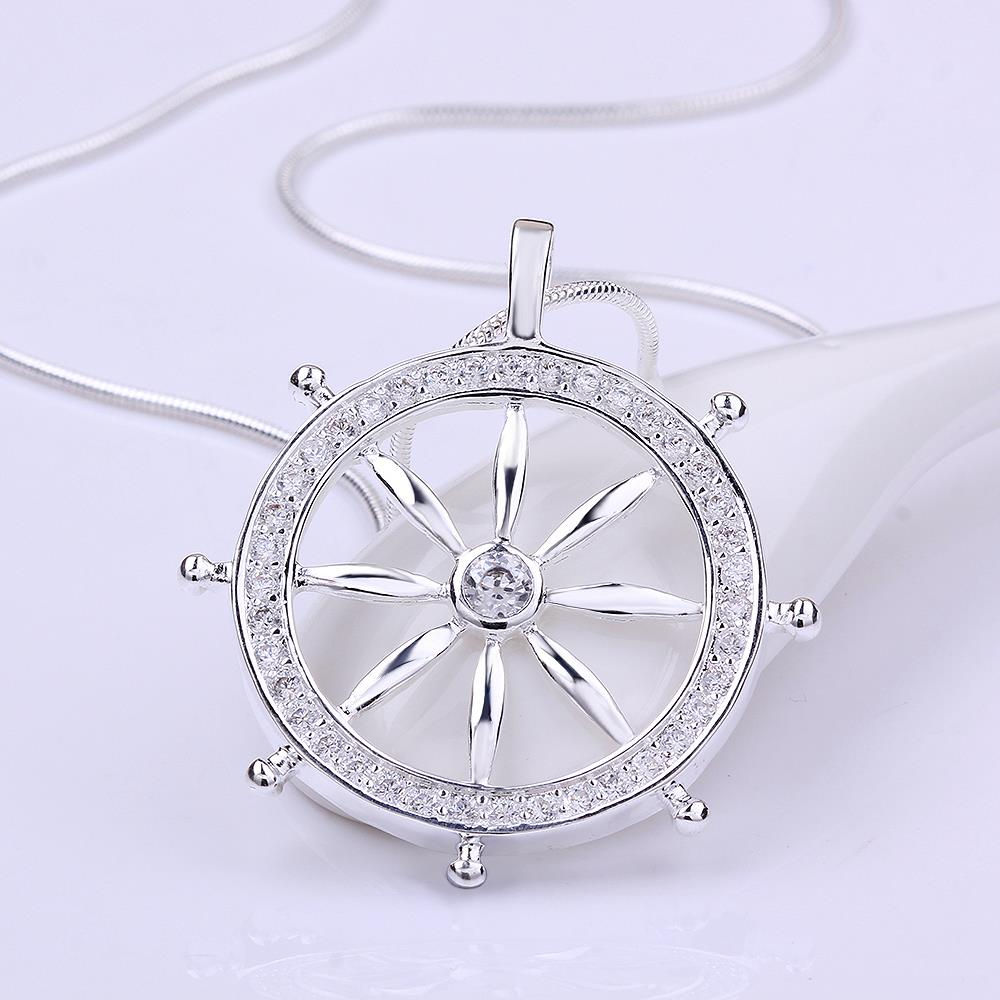 Wholesale Trendy Silver Round CZ Necklace TGSPN117 1