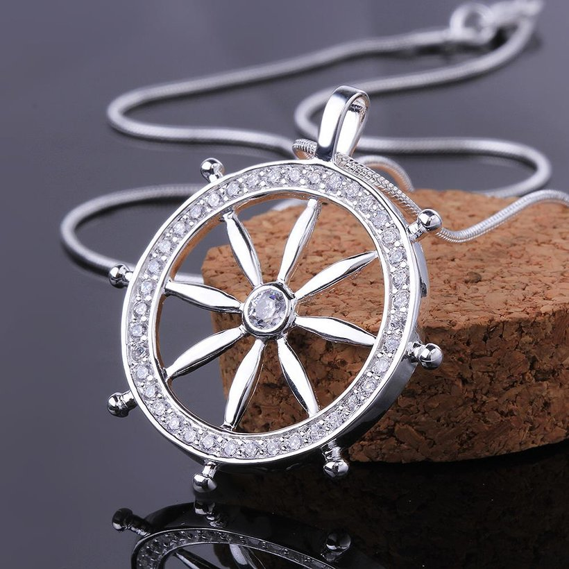 Wholesale Trendy Silver Round CZ Necklace TGSPN117 2