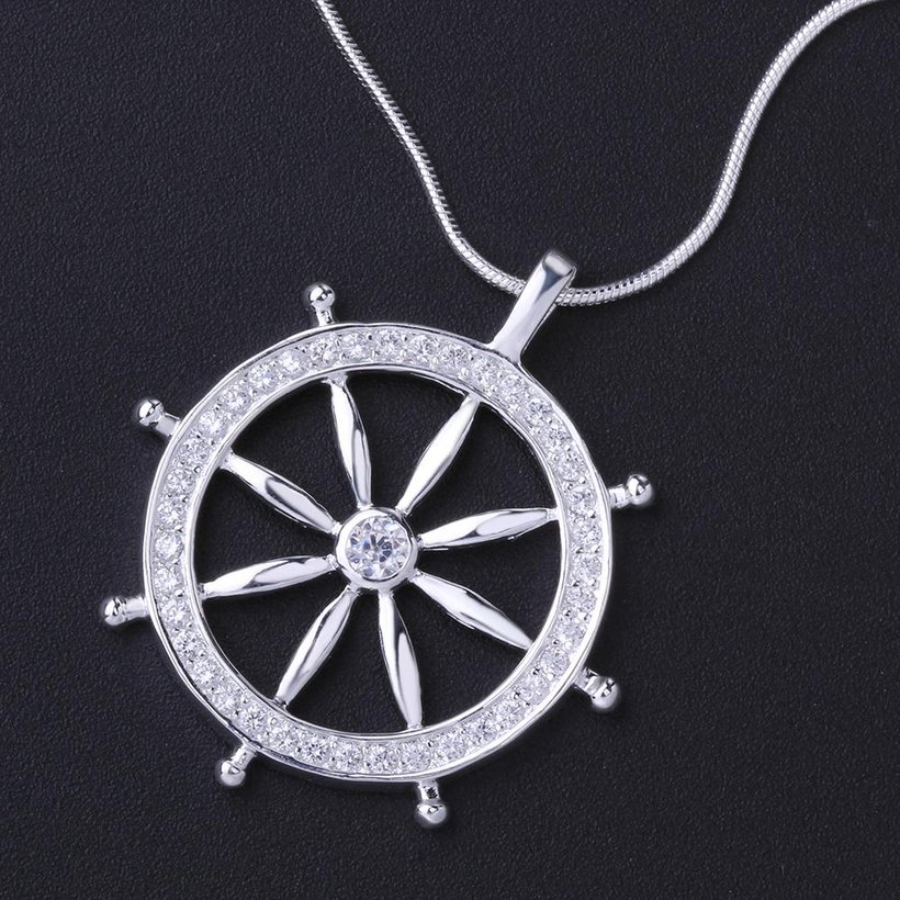 Wholesale Trendy Silver Round CZ Necklace TGSPN117 4