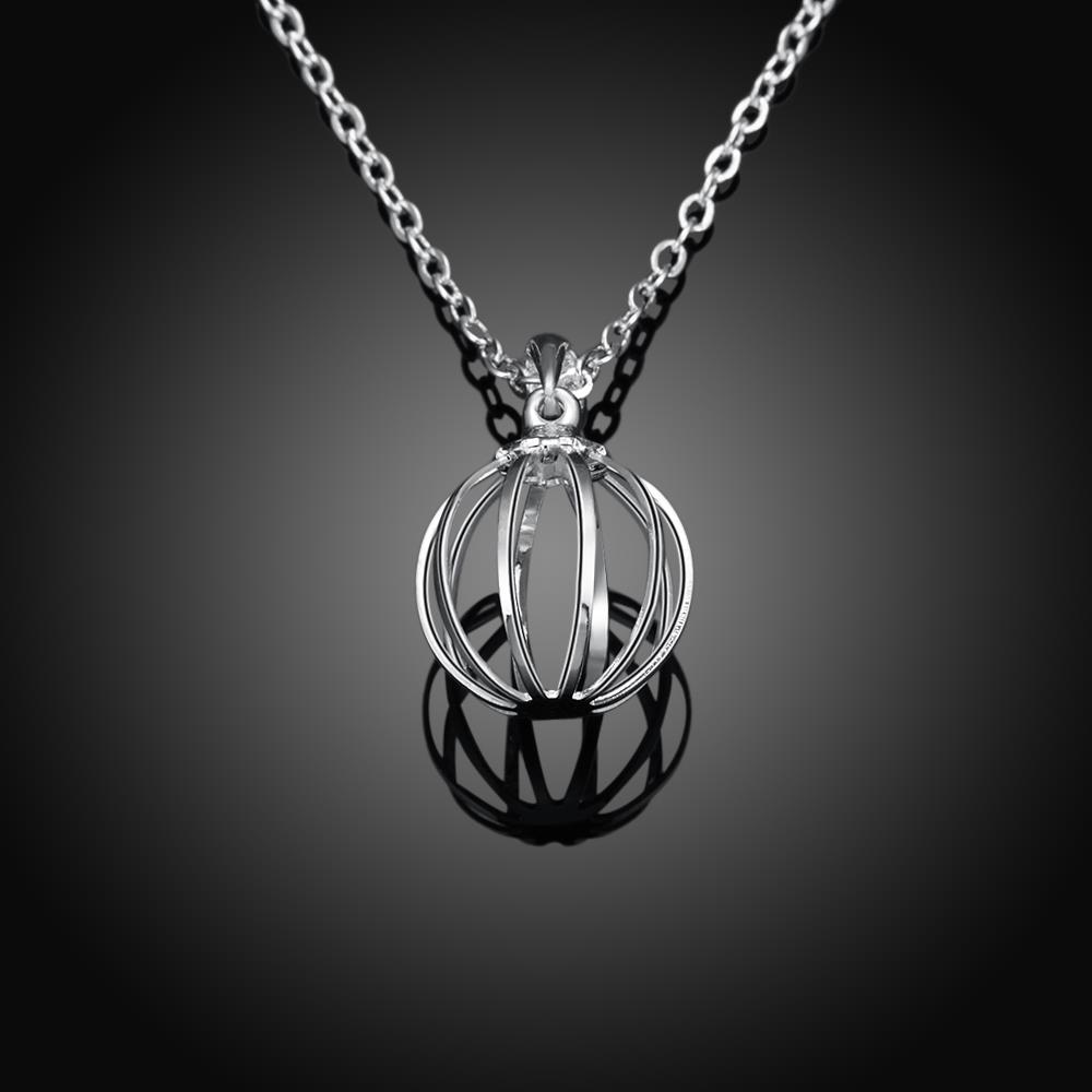 Wholesale Classic Silver Round Necklace TGSPN238 4