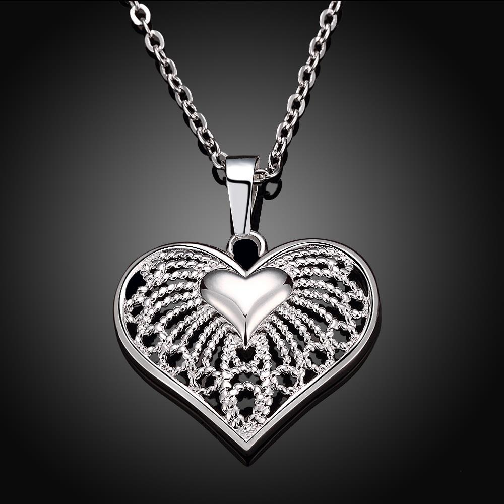 Wholesale Classic Silver Heart Necklace TGSPN244 1