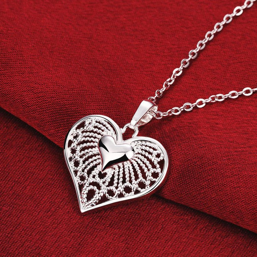 Wholesale Classic Silver Heart Necklace TGSPN244 2