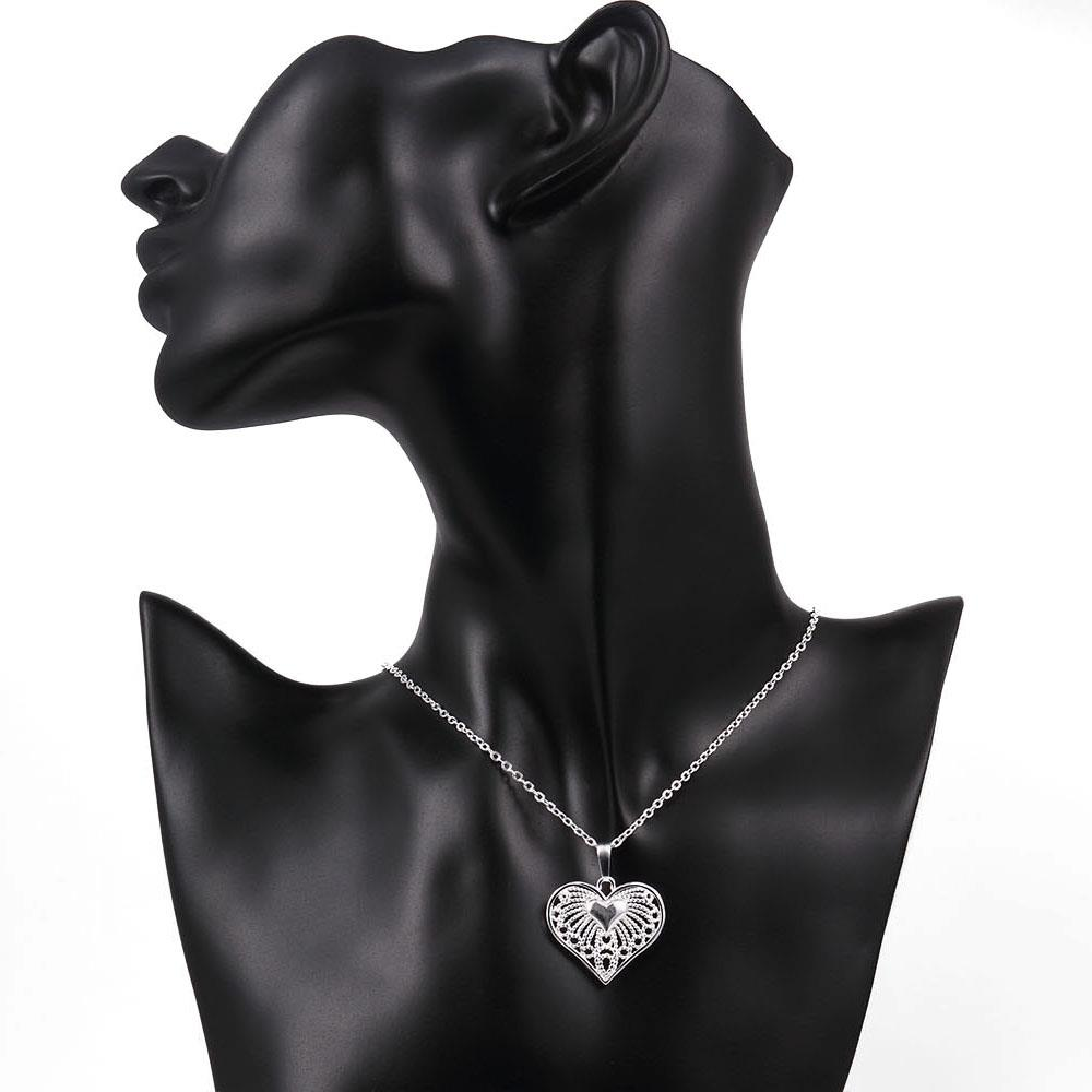 Wholesale Classic Silver Heart Necklace TGSPN244 3