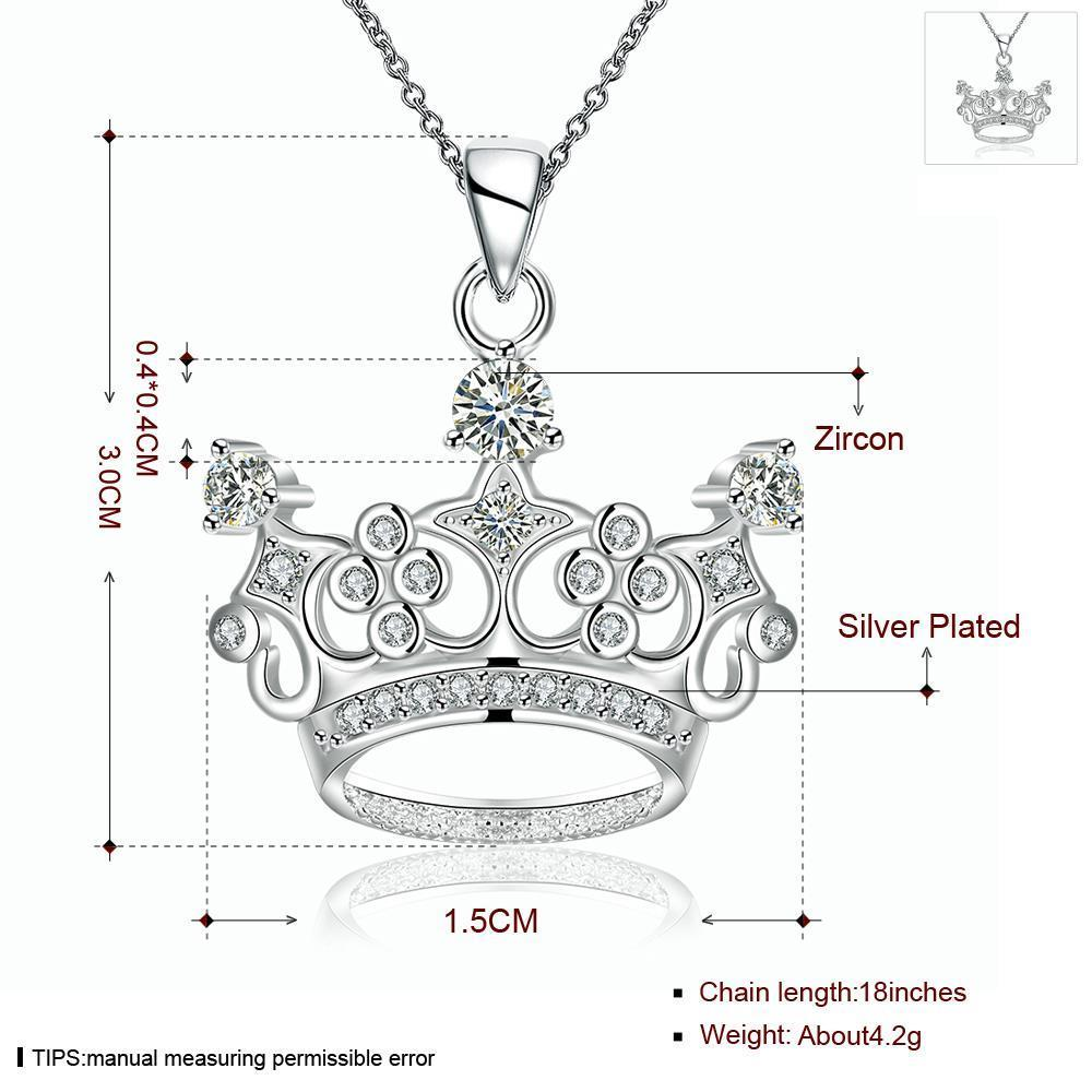 Wholesale Classic Silver Geometric CZ Necklace TGSPN286 0