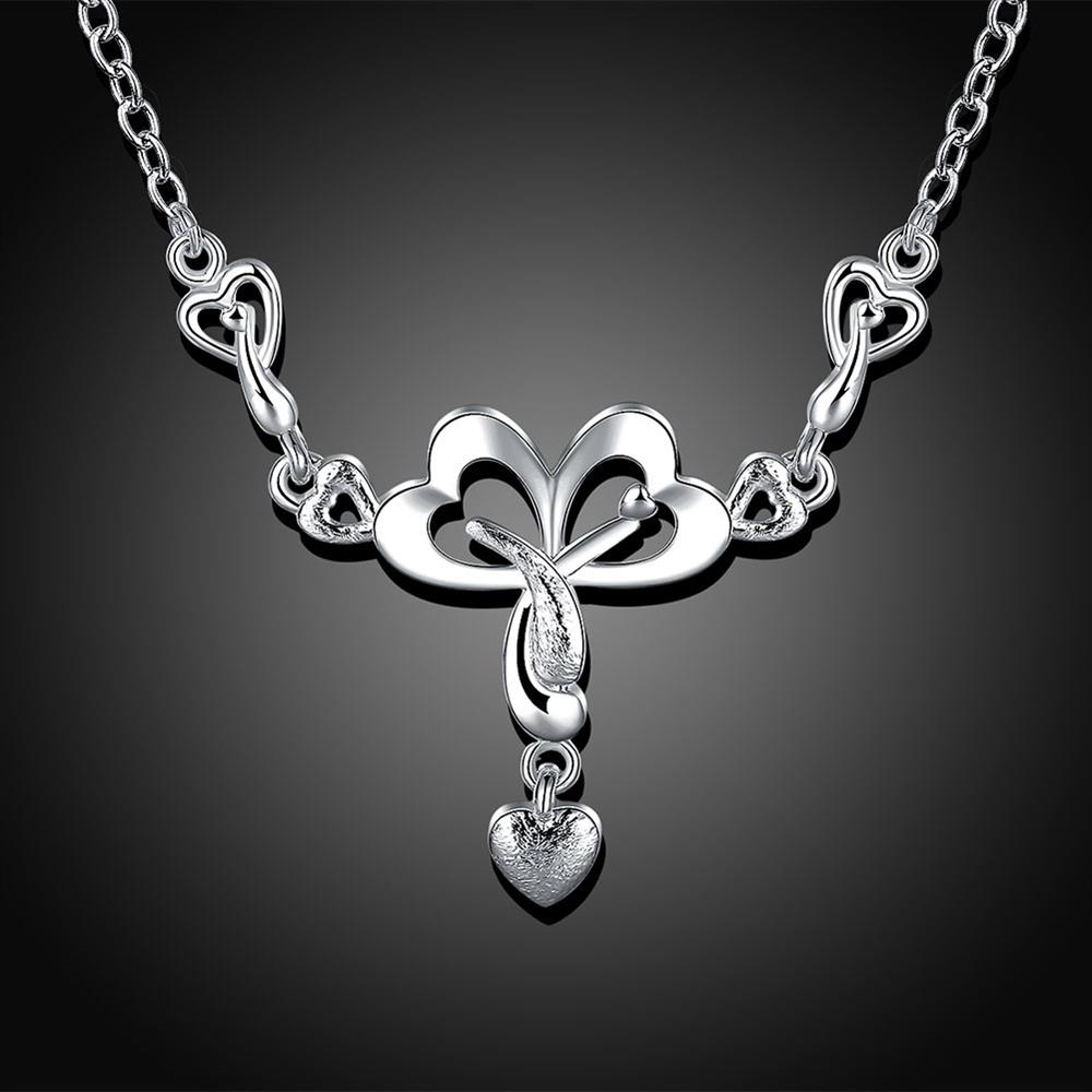 Wholesale Romantic Silver Heart Necklace TGSPN322 1