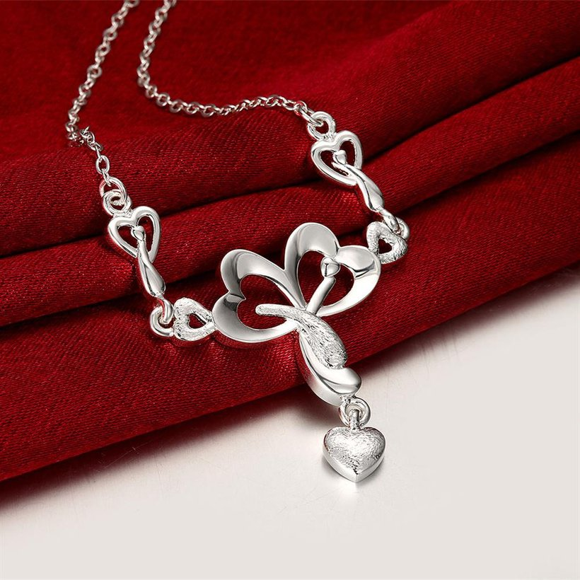 Wholesale Romantic Silver Heart Necklace TGSPN322 3