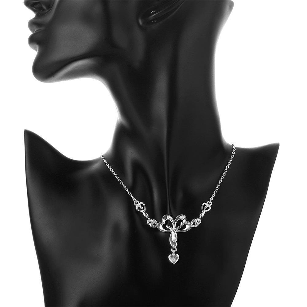 Wholesale Romantic Silver Heart Necklace TGSPN322 4