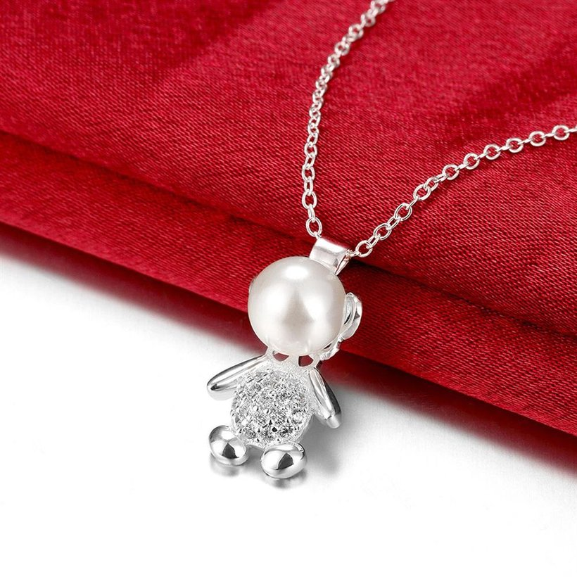 Wholesale Trendy Silver Animal CZ Necklace TGSPN332 2